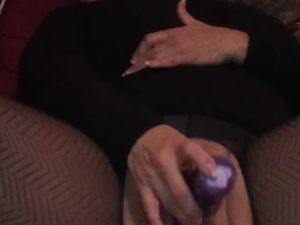 Nylon Dildo Play and Orgasm