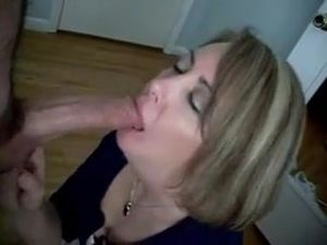 Mature does a blowjob to a guy with a..