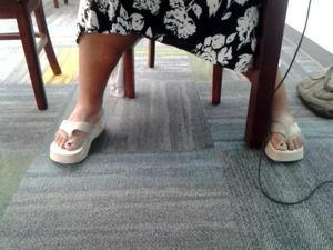 Candid mature bbw feet in library 2