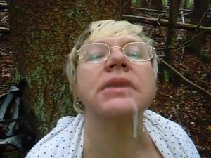 Granny in Woods Gets Facial with Glasses..