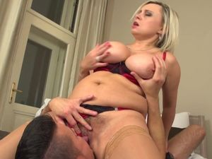 Posh mature mom with big tits seduced by..