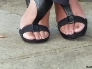 Candid mature lady feet on break pt 2