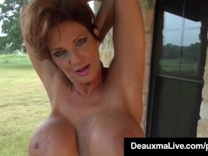 Busty Cougar Deauxma Oils Up & Exercises..